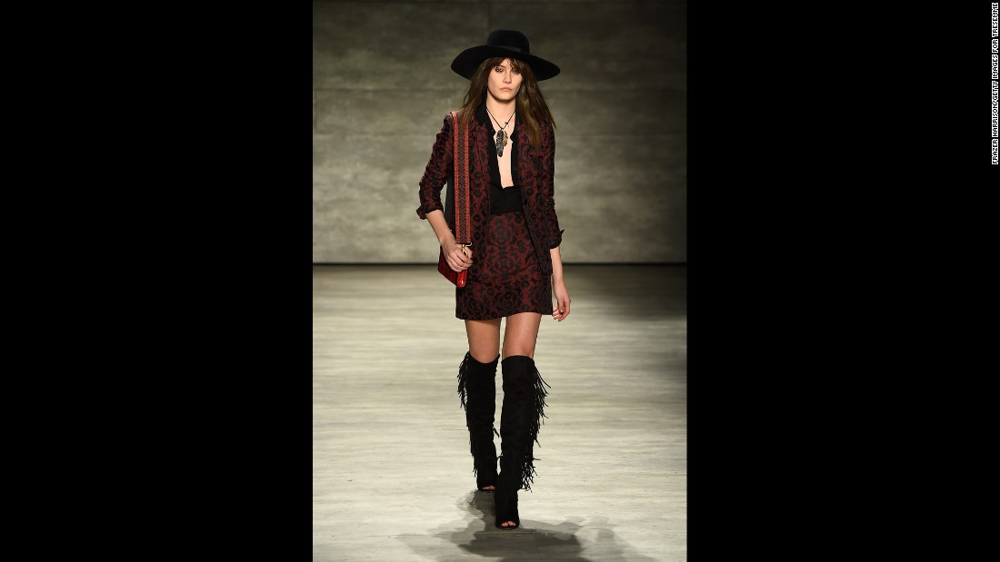 Designer Rebecca Minkoff kept with the 1970s overriding trend and went for a rocker-inspired look.