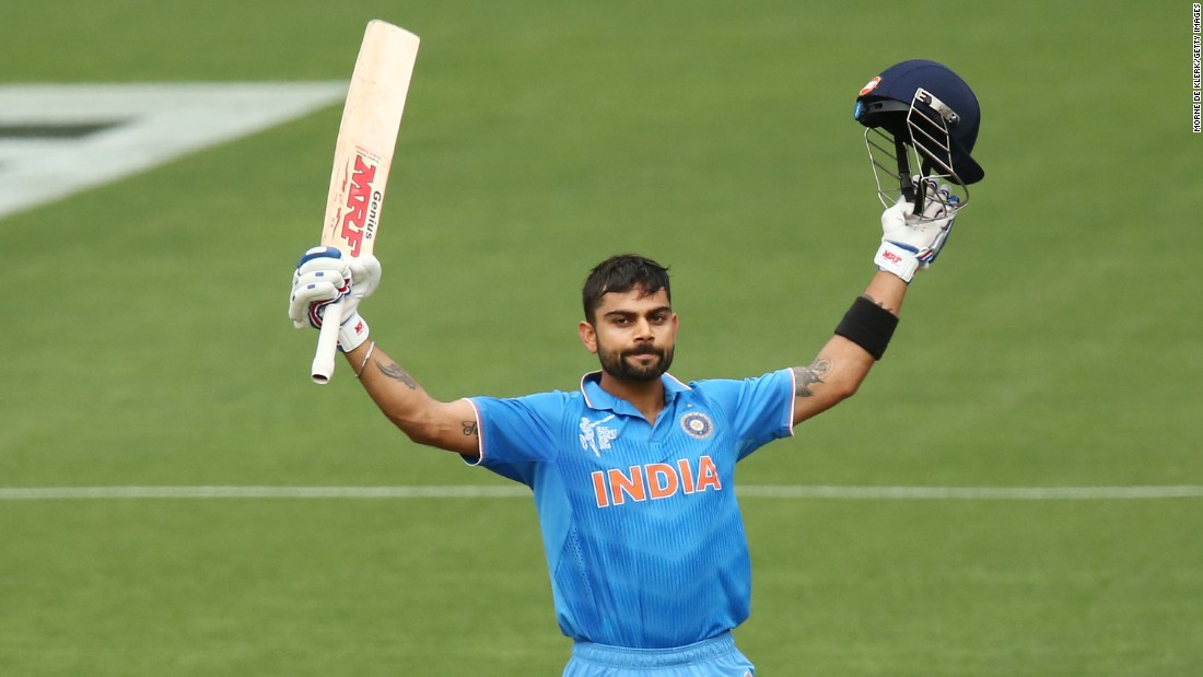 Man-of-the-match Virat Kohli celebrates his 22nd one-day international century as India beats Pakistan by 76 runs in a World Cup opener.