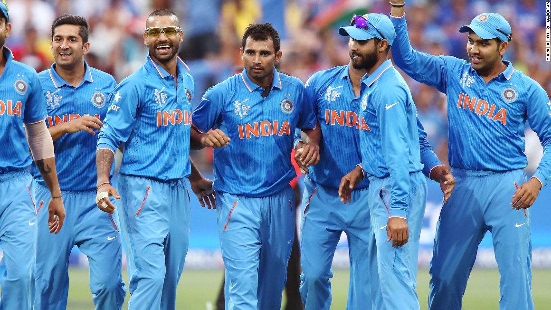 India's bowling hero Mohammed Shami takes the plaudits from teammates after taking another key wicket in his side's victory over Pakistan.