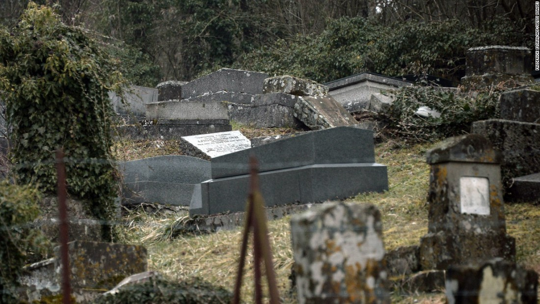 About 250 graves were damaged, with most of the damage consisting of headstones being overturned and columns uprooted.