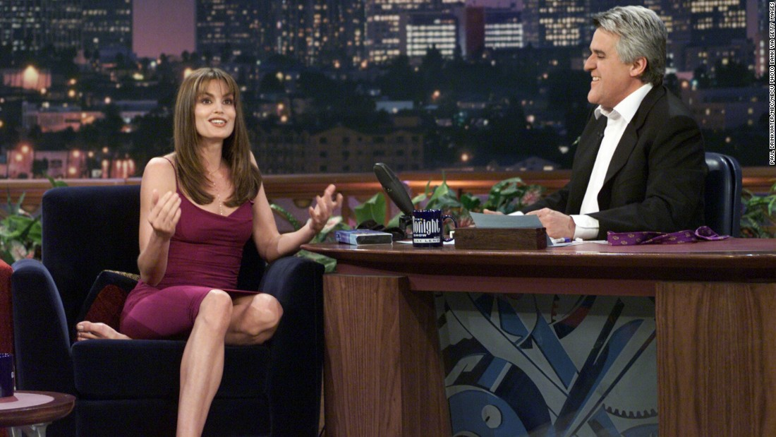 "Crawford talks with host Jay Leno in 2000 on ""the Tonight Show."""