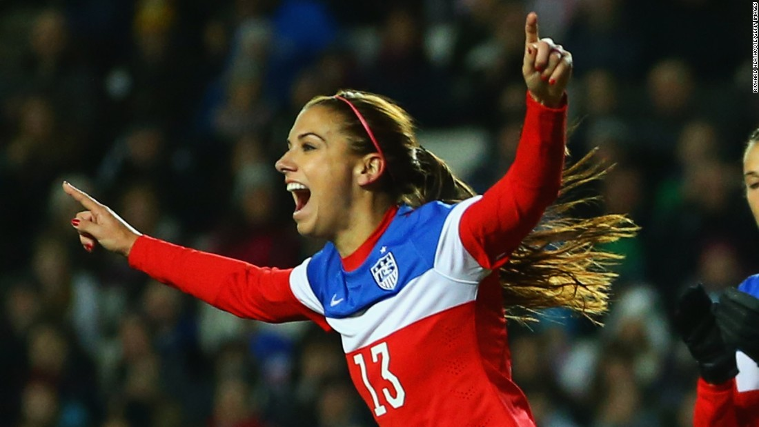 With the only goal of the game against England in a pre-World Cup friendly, Morgan scored her 50th goal for the U.S. women's team. Only 26, she went on to score once during the U.S.'s victorious campaign in Canada.