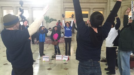 """We will push for equality,"" Lechner said while leading the group in stretches."