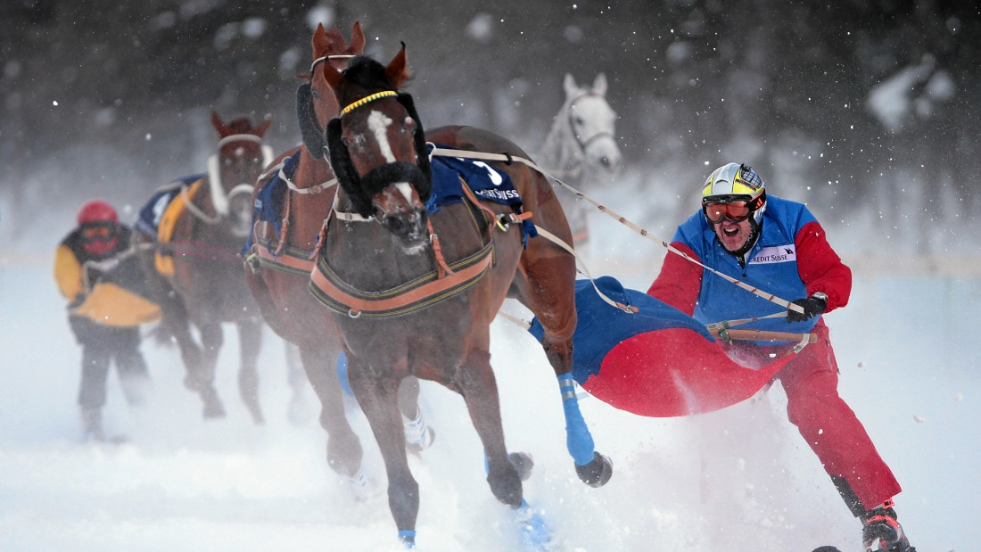 The sport can be treacherous as skiers, horses and ropes entwine in a bustling contest on, in the case of St Moritz, a snow-covered lake.