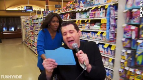 Billy On The Street takes First Lady Michelle Obama through a grocery store in Washington, D.C.