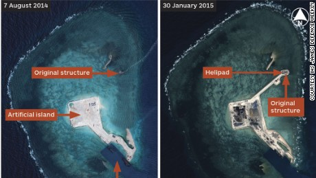 Satellite imagery from 30 March, 7 August 2014 and 30 January 2015 shows the extent of Chinese progress in building an island at Gaven Reefs in the Spratly Islands.