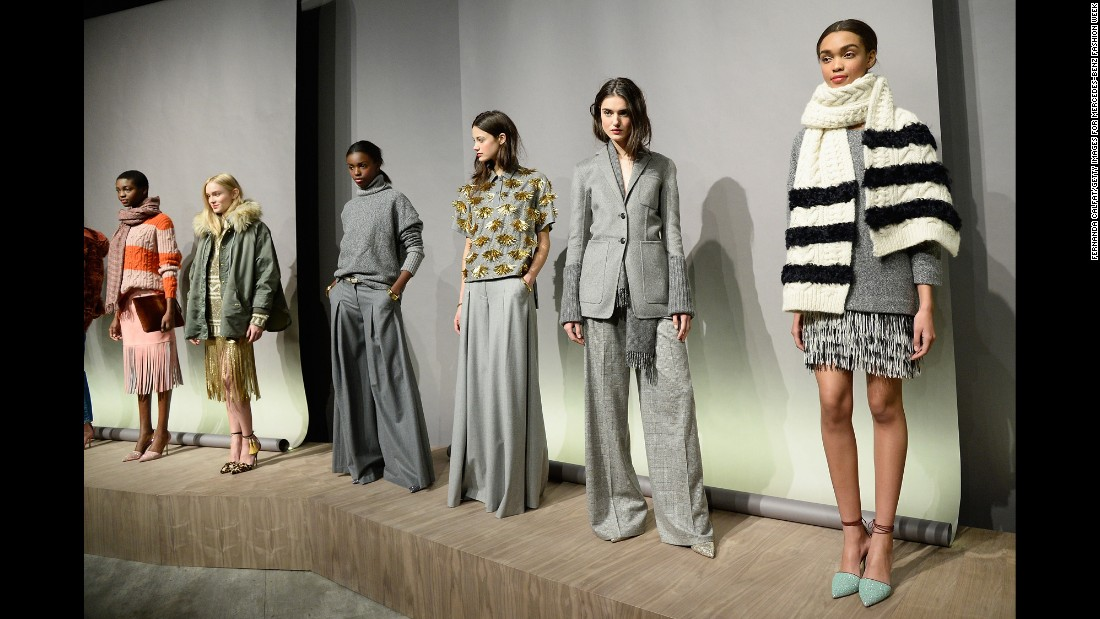 "J. Crew's womenswear lineup <a href=""http://www.cnn.com/2015/02/13/living/feat-nyfw-fall-2015-forecast/"">nodded to the 1970s</a> with wide-leg trousers and fringe skirts."