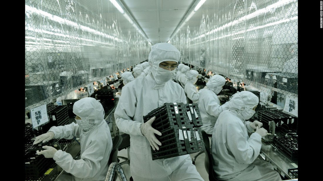 Sophisticated electronics are manufactured in these dust-free rooms. Workers are only allowed to expose their eyes in these rooms and work there for eight to 16 hours a day.