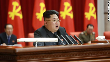 North Korean dictator Kim Jong Un speaks during a meeting of the Political Bureau of the Central Committee of the Workers' Party of Korea in Pyongyang, North Korea, in this photo released by the state-run Korean Central News Agency.