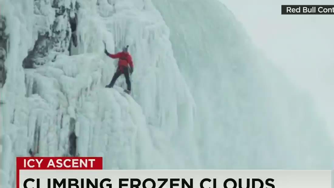 Frozen feat: Adventurer climbs icy walls of Niagara Falls
