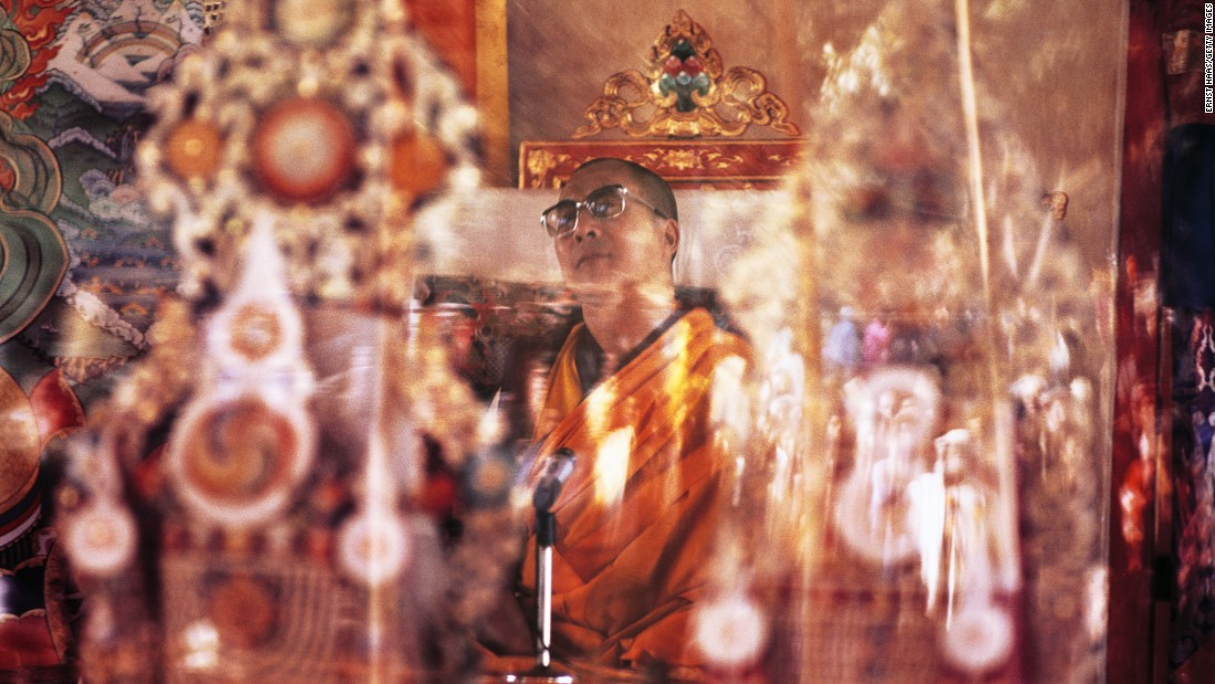 The Dalai Lama officiates at a Tibetan Buddhist ceremony circa 1960 in Bodh Gaya, India, the site where Buddha is believed to have attained enlightenment.