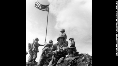 This is the first flag raising on the top of Mount Suribachi.