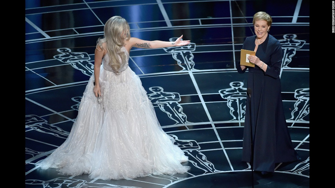 "Lady Gaga introduces Andrews after singing a tribute to ""The Sound of Music"" at the 2015 Academy Awards."