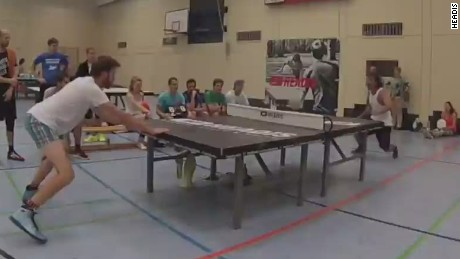Sport combines soccer and table tennis