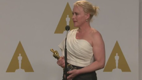 Raw: Patricia Arquette backstage at the Oscars