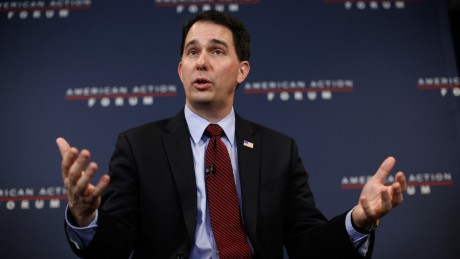 WASHINGTON, DC - JANUARY 30: Wisconsin Governor Scott Walker speaks at the American Action Forum January 30, 2015 in Washington, DC. Earlier in the week Walker announced the formation of 'Our American Revival', a new committee designed to explore the option of a presidential bid in 2016. (Photo by Win McNamee/Getty Images)