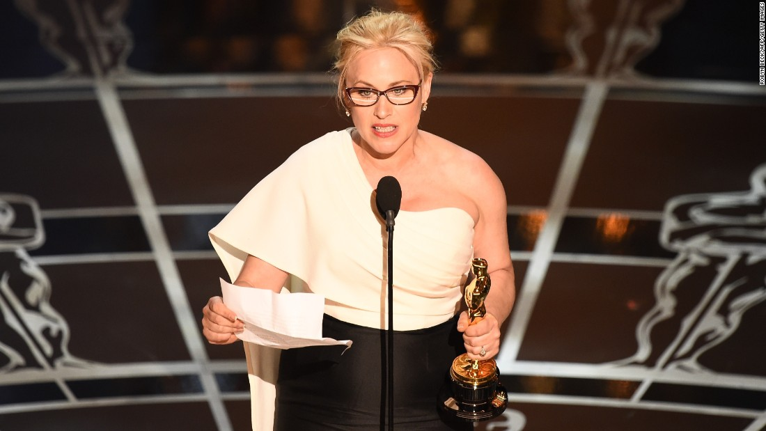 Best Supporting Actress winner Patricia Arquette took to the stage lamenting the lack of equal pay for women in America.