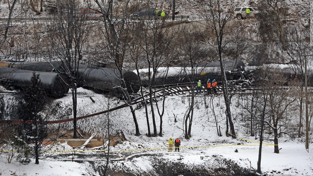 "A train hauling crude oil <a href=""http://www.cnn.com/2015/02/17/us/west-virginia-train-derailment/index.html"">derailed in Mount Carbon, West Virginia</a>, in February. One home was destroyed, and one person was injured."