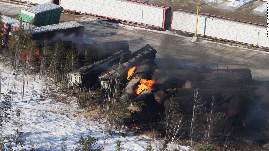 A freight train loaded with crude oil and propane derailed in Plaster Rock, New Brunswick, in January 2014.