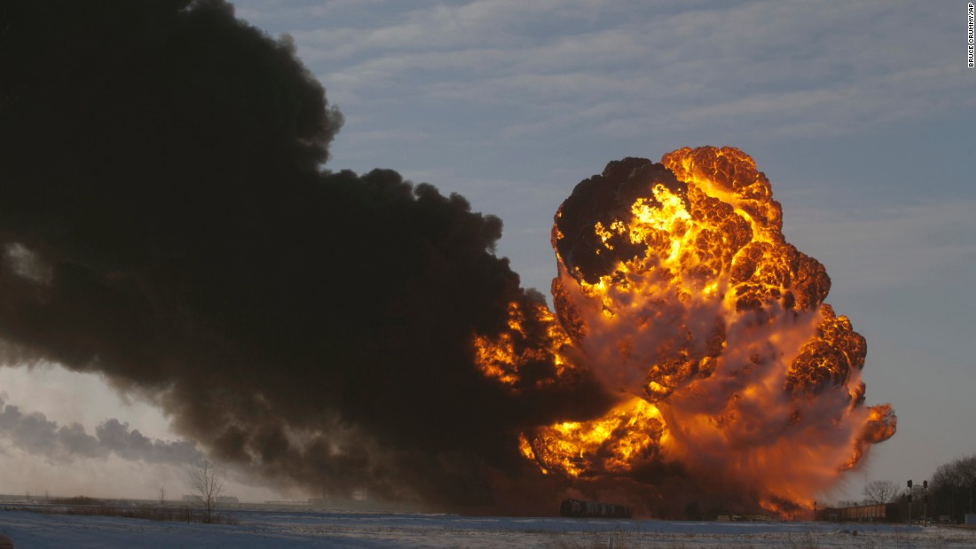 Massive flames filled the sky after an oil train derailment in Casselton, North Dakota, in December 2013.<br /><br />