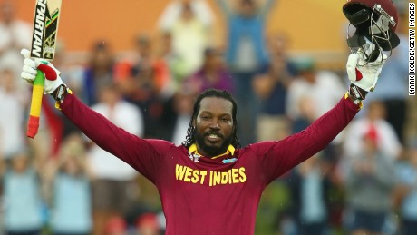 Chris Gayle celebrates his double century during the 2015 ICC Cricket World Cup against Zimbabwe.