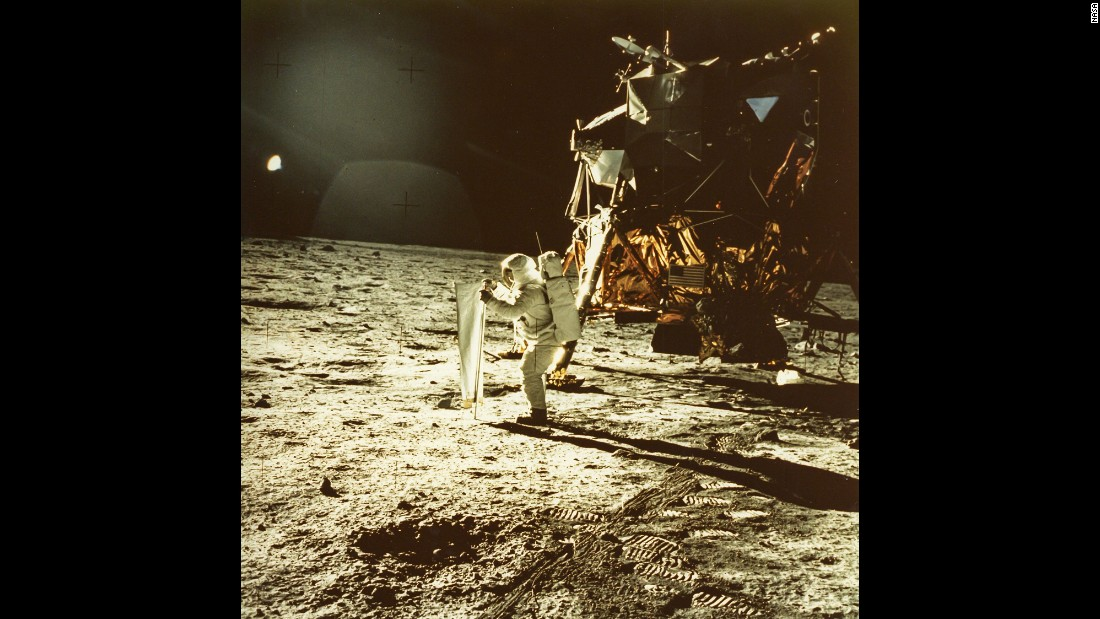 In July 1969, Apollo 11's Neil Armstrong captured the first photo of a man standing on the moon: fellow astronaut Buzz Aldrin.
