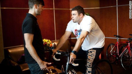 Fit Nation team member Eugene Smookler gets some detailed advice about how to best use his new bike