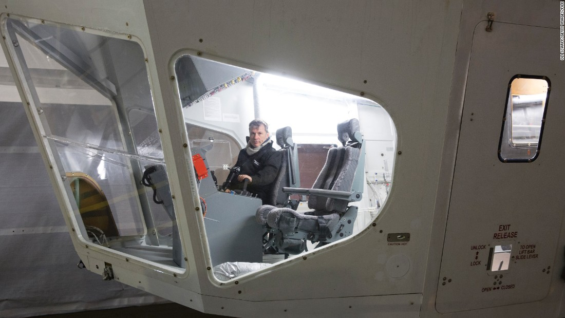 The craft's cockpit has space for one pilot and an observer. Here, Bruce Dickinson, singer with rock band Iron Maiden, sits in the driving seat. He is one of the company's private investors.