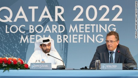 Jerome Valcke addressed reporters alongside Hassan al-Thawadi, the head of Qatar's World Cup Organizing Committee