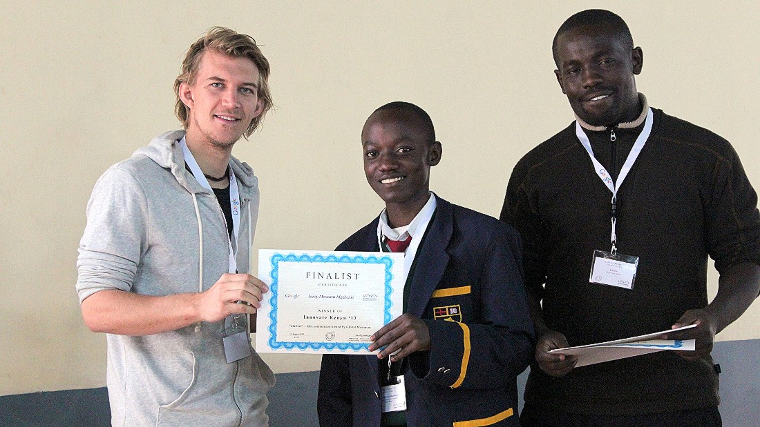 Innovate Kenya founders Francis Meyo (right) and Jacob Lennheden (left) were impressed with the Maseno School students' idea, which was among the finalists in the 2013 competition.
