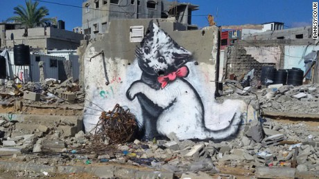 A screenshot of a Banksy artwork in Gaza, taken from the artist's website.