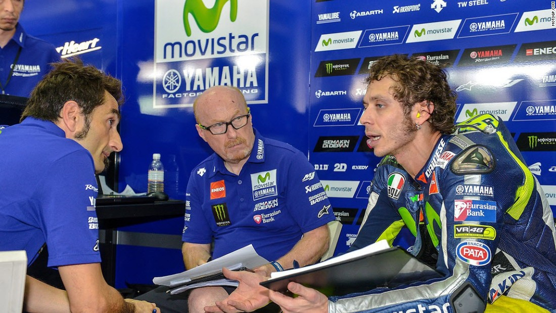 Iannone's compatriot, Valentino Rossi (right) was a place further behind in fifth.