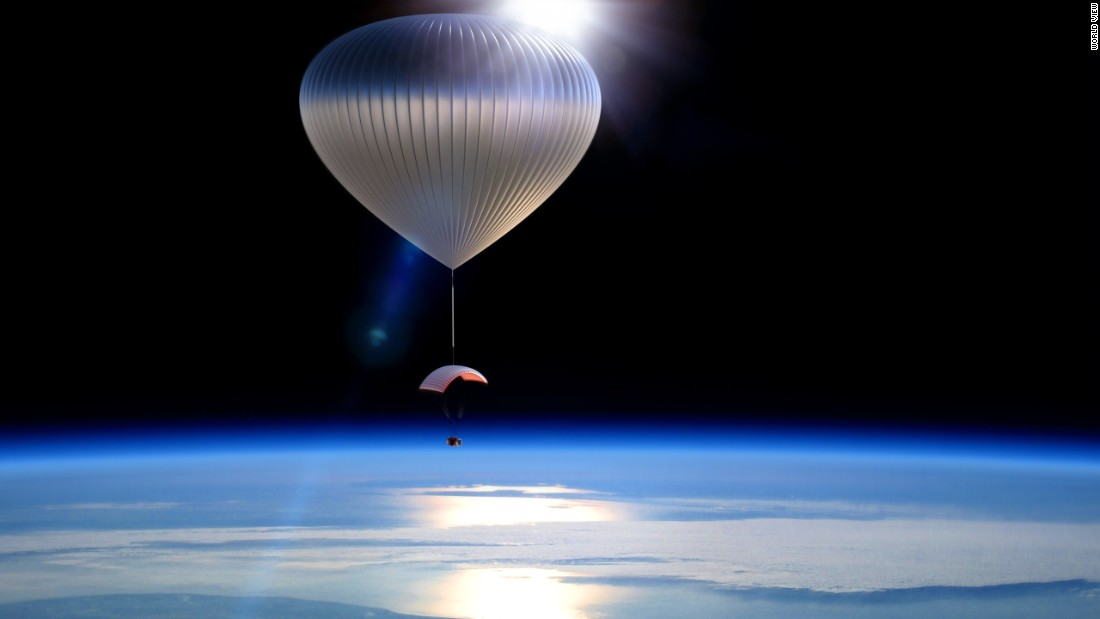 Two companies are racing to take passengers to near space using helium balloons. Pictured, a rendering of a World View balloon.