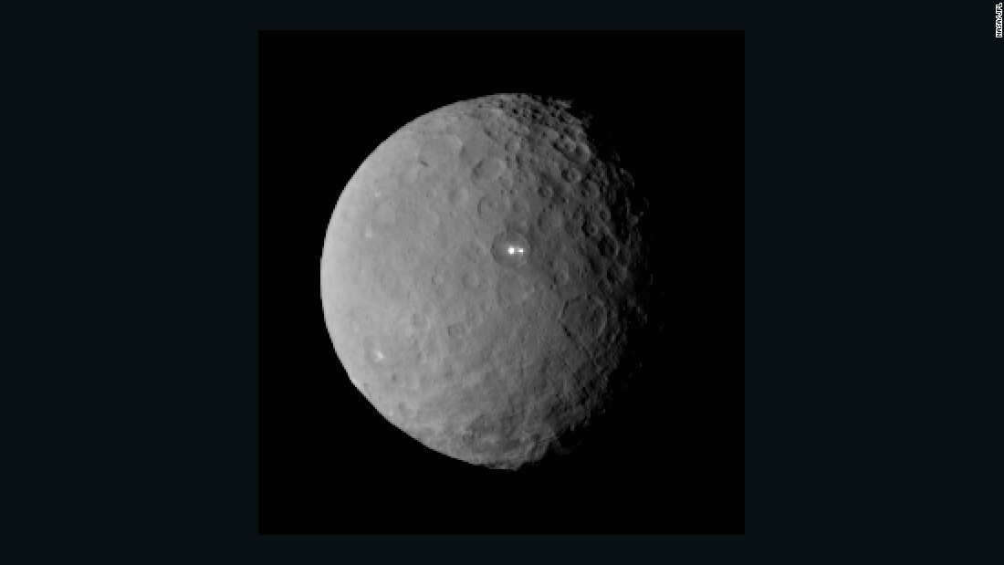 "NASA's <a href=""http://www.nasa.gov/mission_pages/dawn/main/index.html"" target=""_blank"">Dawn</a> spacecraft began orbiting the dwarf planet Ceres in March. Scientists were surprised by the large white spots shining on Ceres, seen above. On its way to Ceres, Dawn spent time studying the proto-planet Vesta in 2001. Ceres and Vesta are the two most massive bodies in the main asteroid belt between Mars and Jupiter. The mission, launched in 2007, is giving scientists new knowledge of how the solar system formed and evolved."