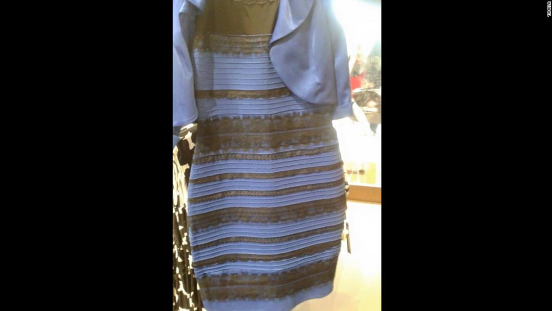 "This dress <a href=""http://www.cnn.com/2015/02/26/us/blue-black-white-gold-dress/index.html"">became a viral sensation</a> as people debated online about whether its colors were blue and black or white and gold."