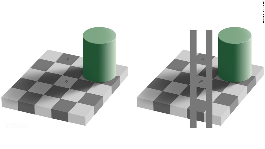 The squares marked A and B are actually the same shade, as shown in the illustration on the right.