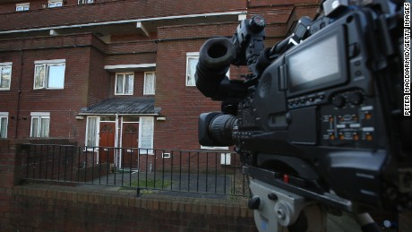 A TV camera points at the London home where ISIS militant Mohammed Emwazi, known as Jihadi John, is believed to have lived.