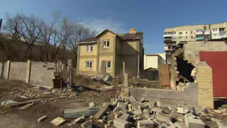 A photograph from earlier this year shows damage in the city of Donetsk.