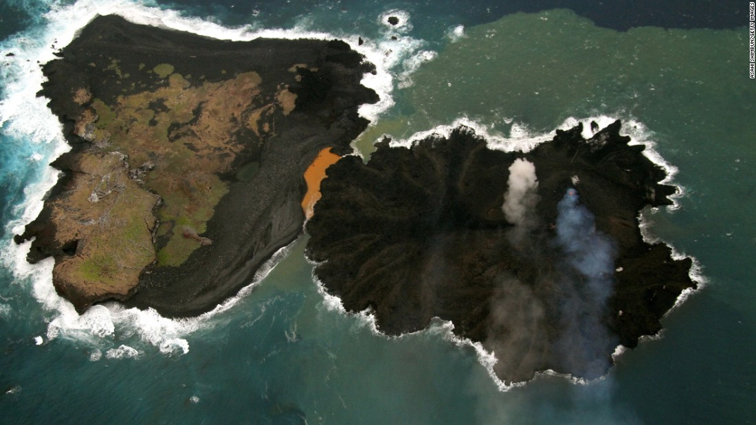 That islet that merged with its neighbor, Nishinoshima island, is continuing to grow. Lava flows on the islet then known as Niijima -- on the right in this November 2014 photo -- have increased the island's size. The islet is in the Ogasawara Islands, also known as the Bonin Islands, about 1,000 kilometers (620 miles) south of Tokyo was first spotted on November 20, 2013, by Japan's coast guard.