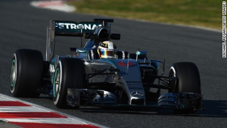 Lewis Hamilton drives during day three of the final Formula One Winter Testing at Circuit de Catalunya, Spain.