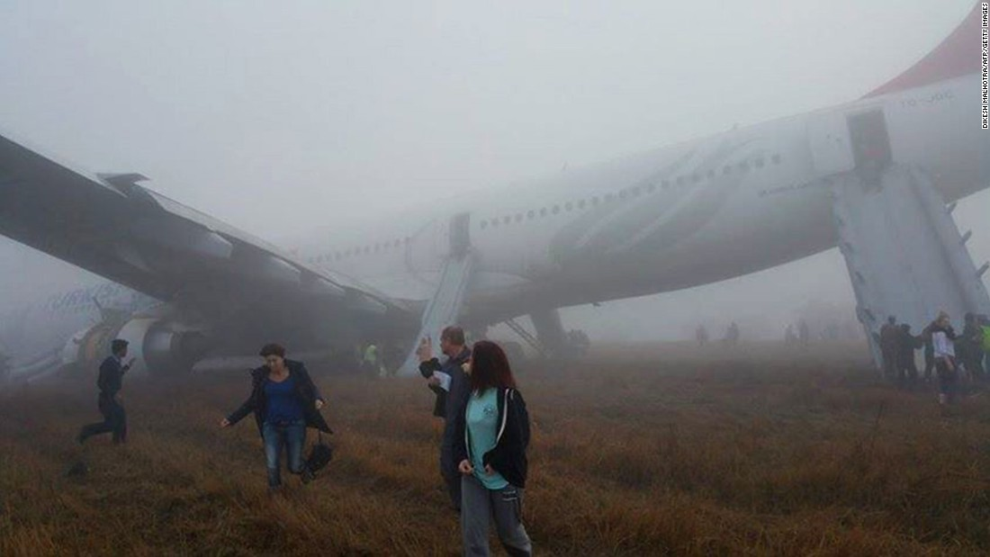 Commercial jet skids off runway at airport in Nepal