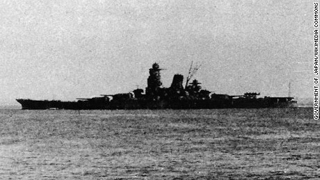 The Yamato-class battleship Musashi, pictured here in 1944 leaving Brunei for the Battle of Leyte Gulf.