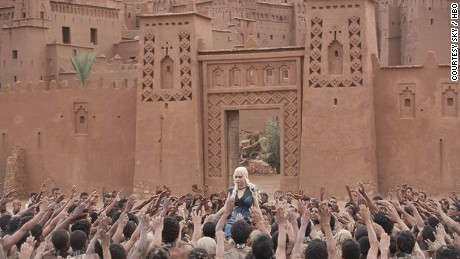In this scene from the tenth episode of the third series of the TV show 'Game of Thrones', the character Daenerys Targaryen is a princess living in exile. The filming took place outside Ouarzazate, Morocco.
