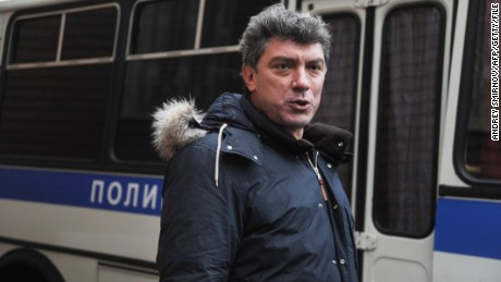 Russian opposition leader Boris Nemtsov attends a rally near Tverskoi court in Moscow on December 27, 2011.