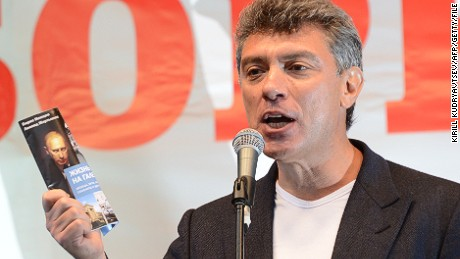 Boris Nemtsov speaks during an anti-Vladimir Putin protest in Moscow on September 15, 2012.