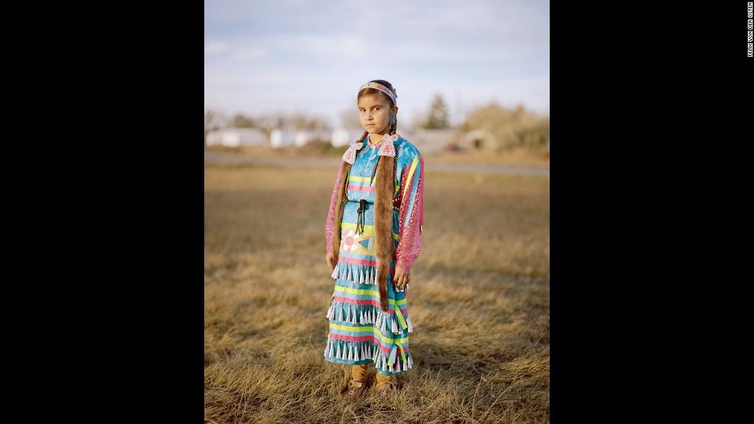 "Mia Jo Wing, a Gros Ventre tribe member, during the Veterans Powwow. She was awarded ""Miss Fort Belknap"" twice already."