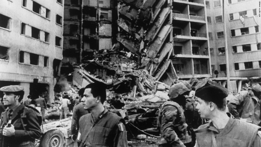 A truck loaded with explosives was rammed into the entrance of the U.S. Embassy in Beirut, Lebanon, in April 1983. While 44 people inside the embassy survived the blast, including U.S. ambassador Robert Dillon, several dozen did not.