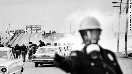 "Alabama state troopers attack marchers in Selma during ""Bloody Sunday"" in 1965."