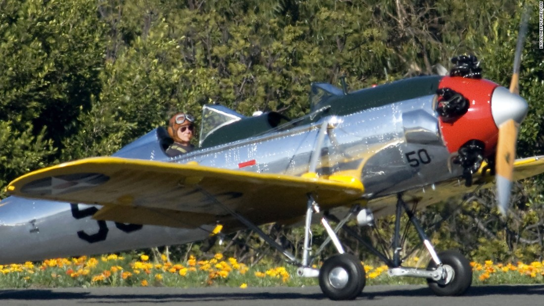 Actor Harrison Ford flies a Ryan PT-22 military plane on January 28, 2011, in Santa Monica, California. This is believed to be the same plane Ford, an experienced pilot, was flying when he crashed Thursday, March 5, on a golf course. The World War II-era plane is also known as the Ryan ST3KR.