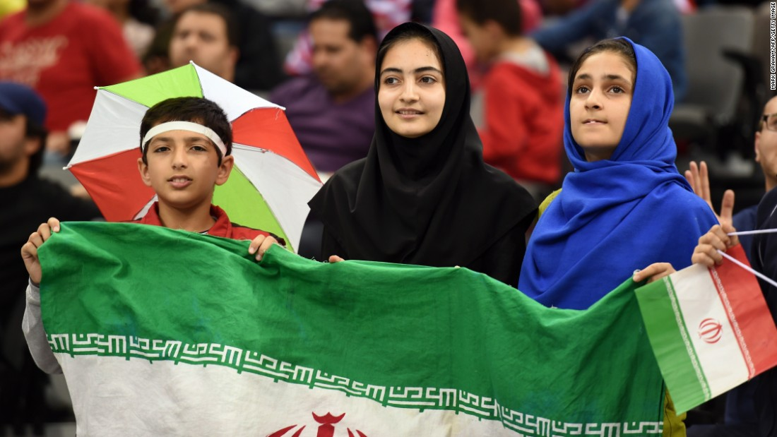 Fans cheer Iran on during the Asian Cup quarterfinal against Iraq in Australia.